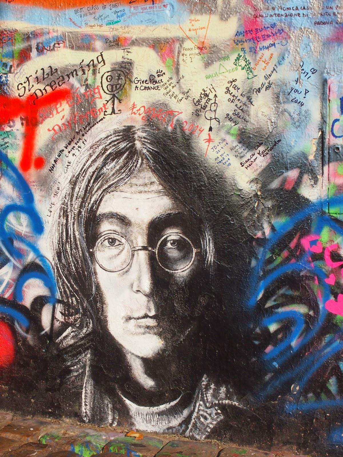 John Lennon's portrait at the Lennon Wall in Prague