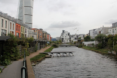 european village in Bo01 in Vastra Hamnen, Malmo looking south along the canal