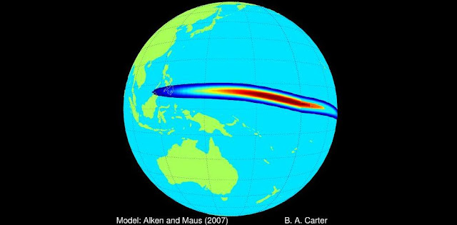 The equatorial electrojet is a naturally occurring flow of current approximately 100 kilometers (60 miles) above the Earth's surface. A new study shows it amplifies the effects of space weather near the equator, putting power grids at risk in regions previously thought to be less prone to space weather than high-latitude regions. Credit: Brett A. Carter