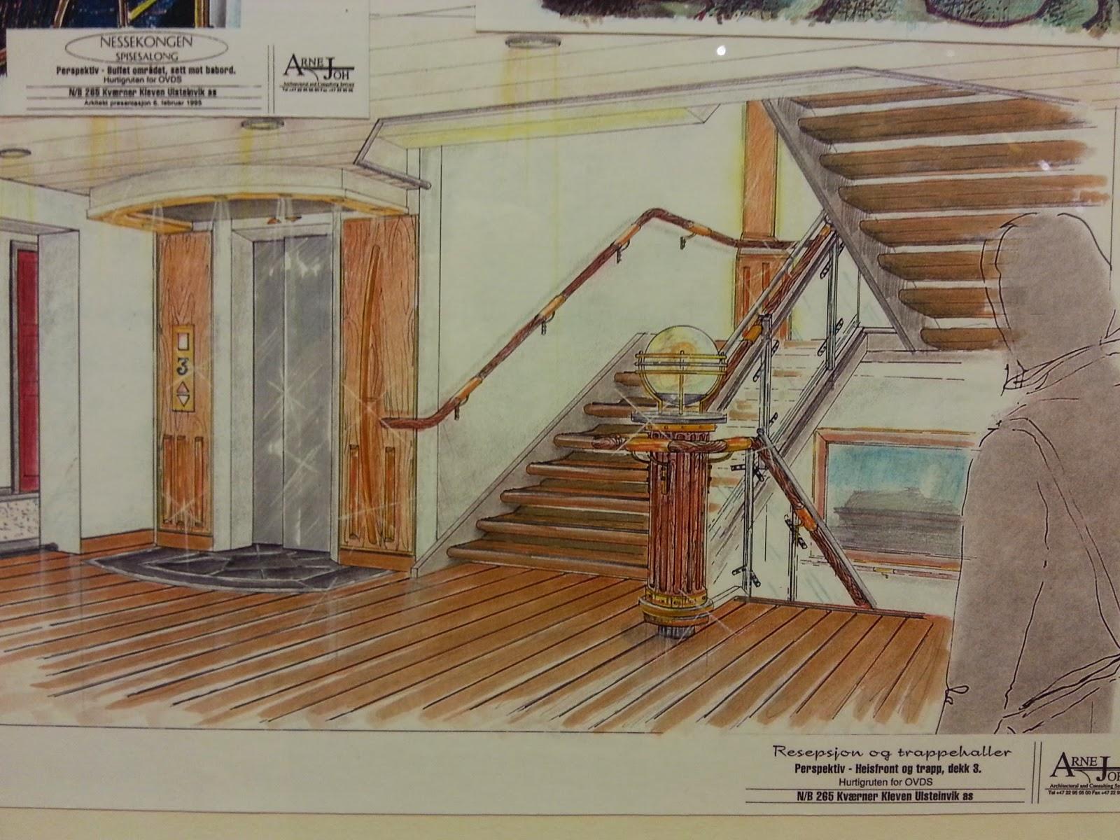 Hurtigruten MS Nordkapp - Artist's impression of a stairwell