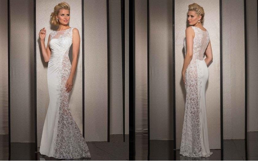 White floor length evening dresses