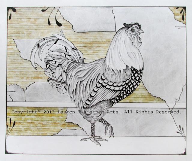 © 2013 Lauren T Kistner. Good Looking Roo. Ink, graphite and watercolor on paper