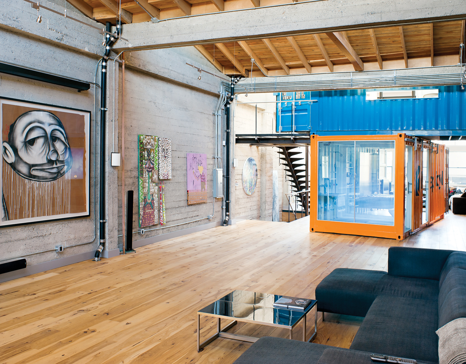 Shipping container homes shipping containers in loft for Interior design in a box