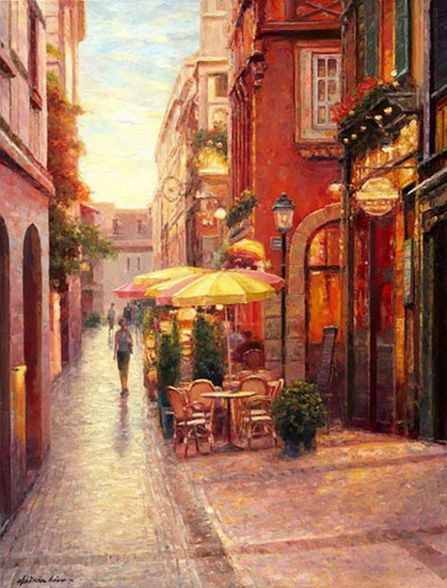 Haixia Liu 1962 | Chinese Realist/Impressionist painter | Urban landscape