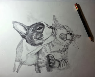 Second Dog Kissing Cat Work In Progress Pencil Drawing