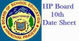 HP Board Matric 10th Class Date Sheet 2015