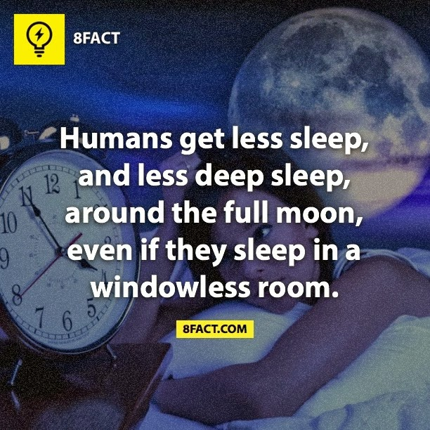 Humans get less sleep , and less deep sleep, around the full moon , even if they sleep in a windowless room.