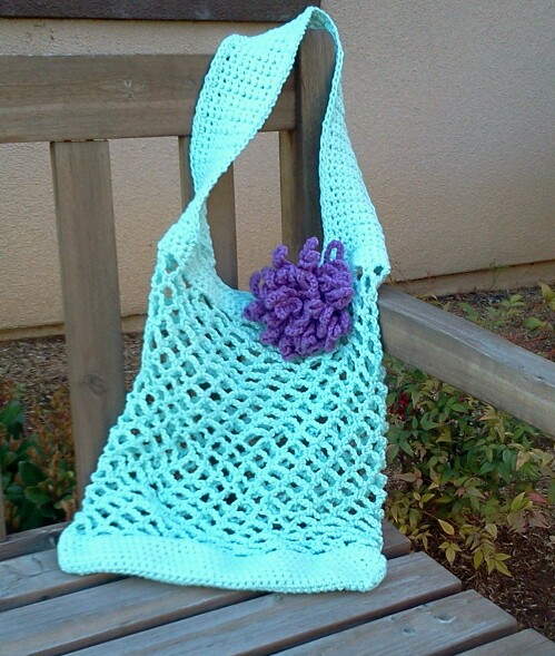 Crochet Mesh Bag Pattern : These were made from a free pattern that was on the label of Sugar N ...