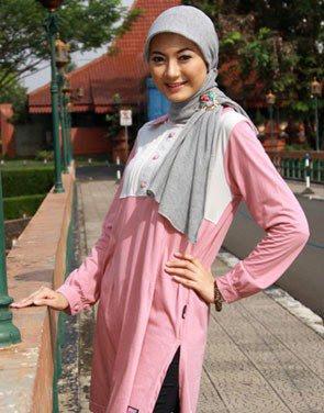 Zenitha Koleksi Busana Muslim Ukuran Big Size pink abu muda
