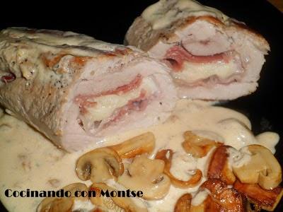solomillo relleno de jamón, queso y bacon