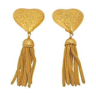 Vintage 1980's gold heart Yves Saint Laurent earrings with dangling tassels