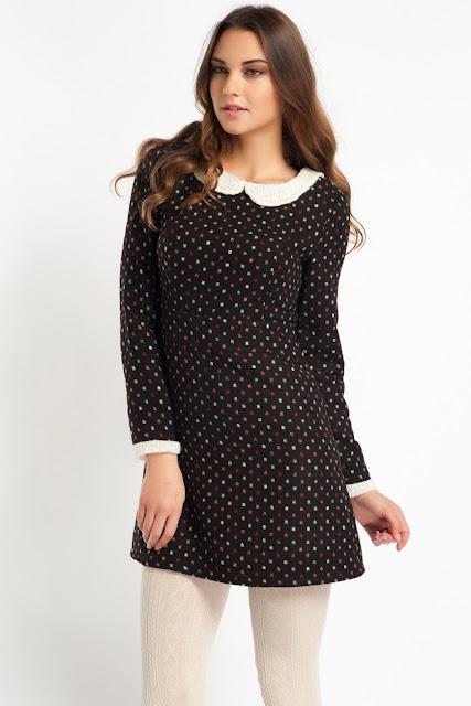 yakalı puantiyeli siyah elbise kısa koton 2014