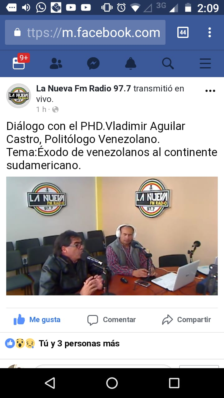 Entrevista al Dr. Vladimir Aguilar en la emisora 97.7 Fm.