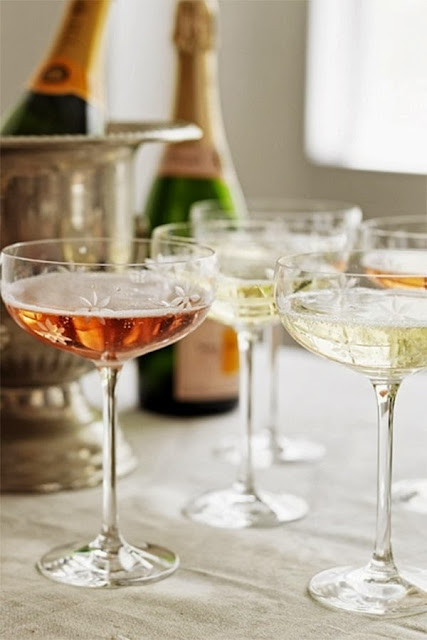 Chic floral etched Champage saucers