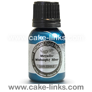 Metallic Midnight Blue Edible Paint for cake decorating