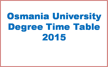 OU Degree UG Exams 2015 Time Table