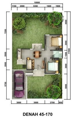 Denah Rumah Bukit Jasmine Citra Indah Tipe 45/170