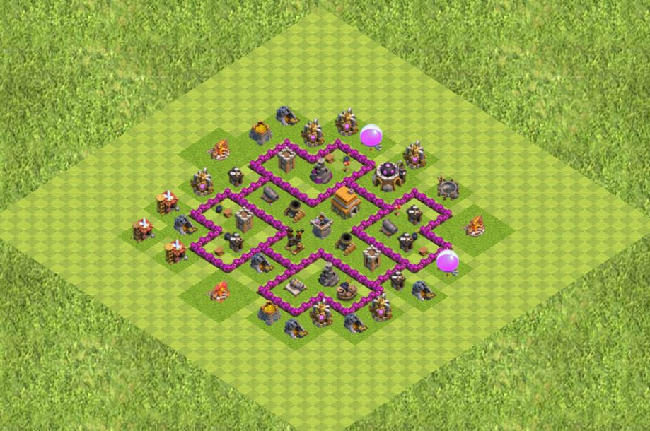 COC TH 6 Base Defense Clans War