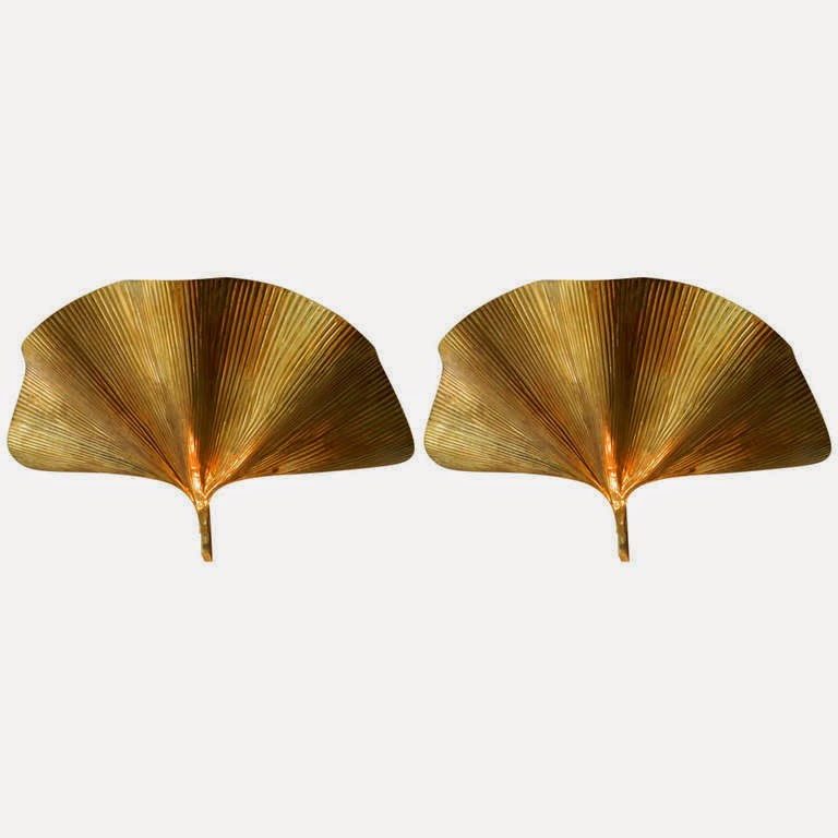 Pair Of Tommaso Barbi Ginkgo Leaf Sconces. Brass. Made In Italy Circa 1960.  Offered By Antiques Of River Oaks Via 1stDibs.