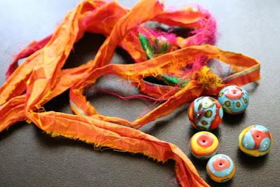 Lampwork by Cherry Obsidia, sari silk :: All Pretty Things