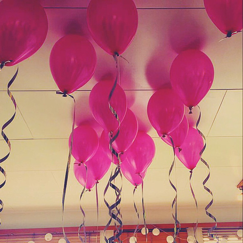 pink birthday balloons