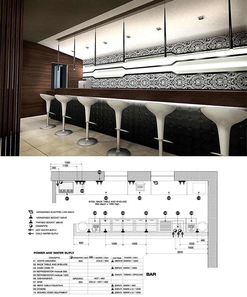 Bar details. The Golden Club Restaurant & Dance design by Somerset Harris