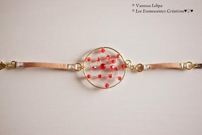 bracelet dreamcatcher attrape reves fait main en France creation unique par Vanessa Lekpa Créatrice de bijoux contemporain et bijoux poétiques