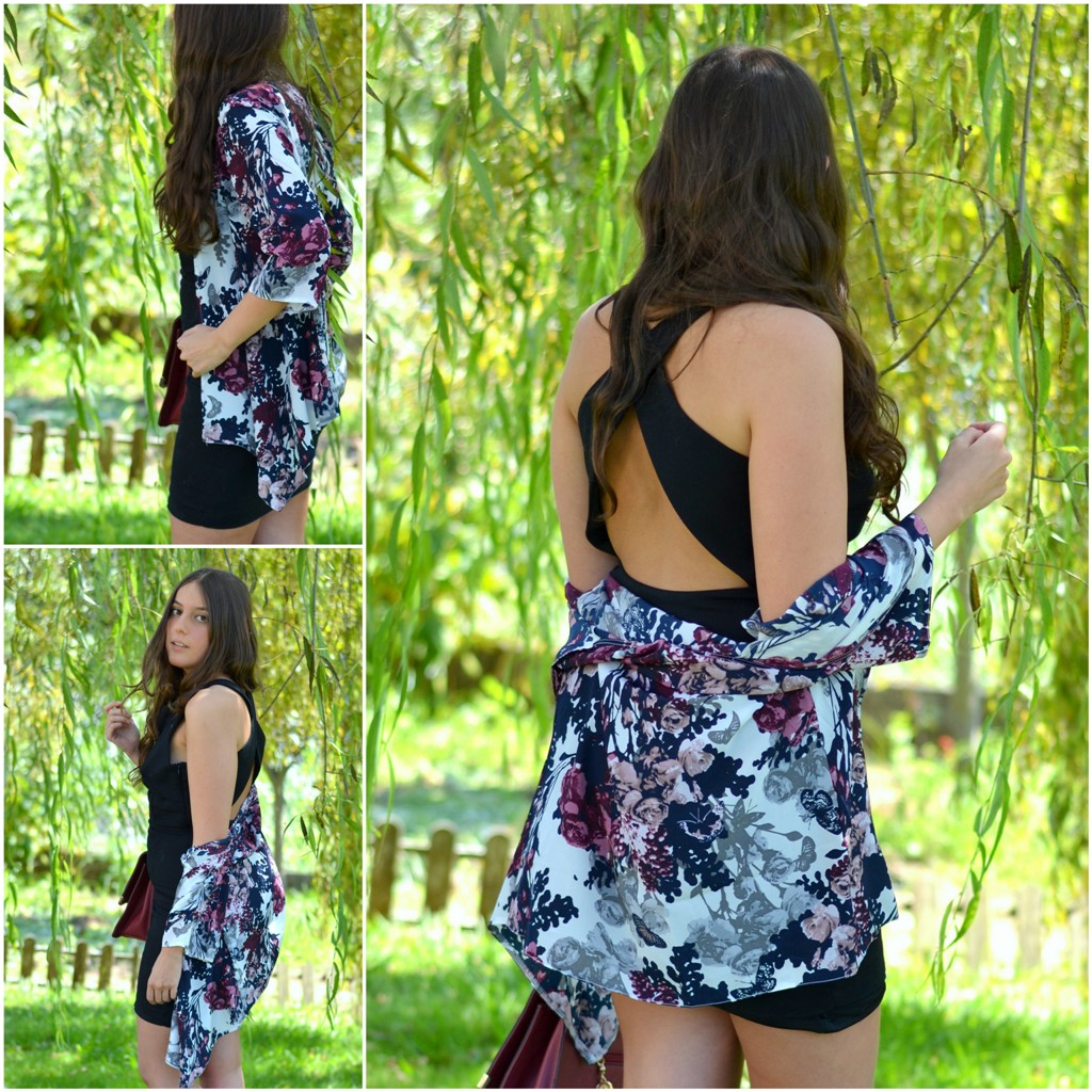 Sheinside kimono floral print, zara lbd backless