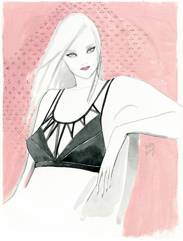 Kitty N. Wong / Strawberry Milk lingerie fashion illustration