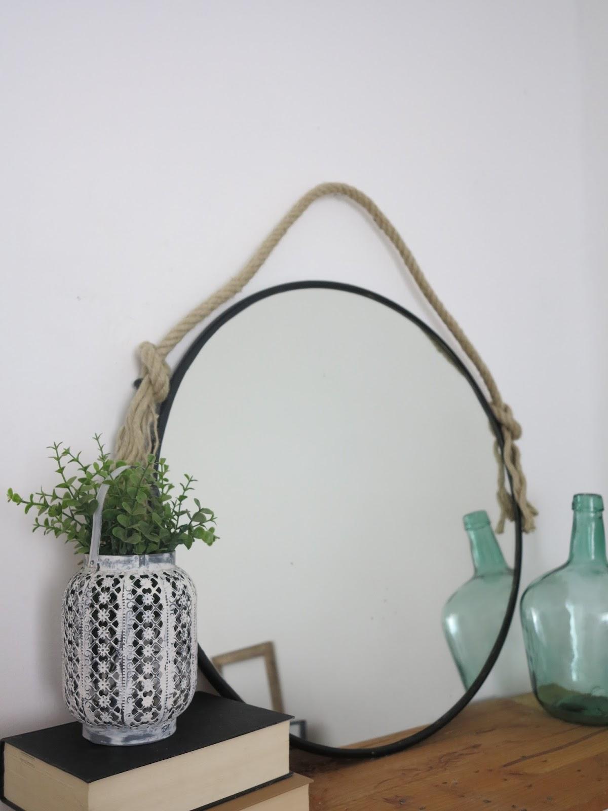 Diy espejo r stico negro con cuerda handbox craft for Espejo redondo cuerda