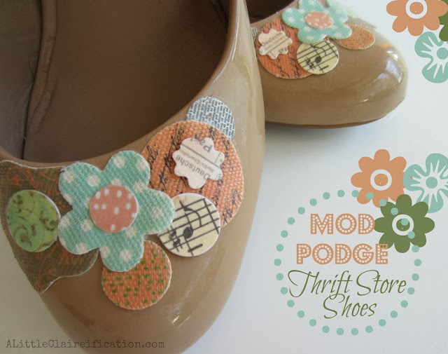mod podge thrift store shoes