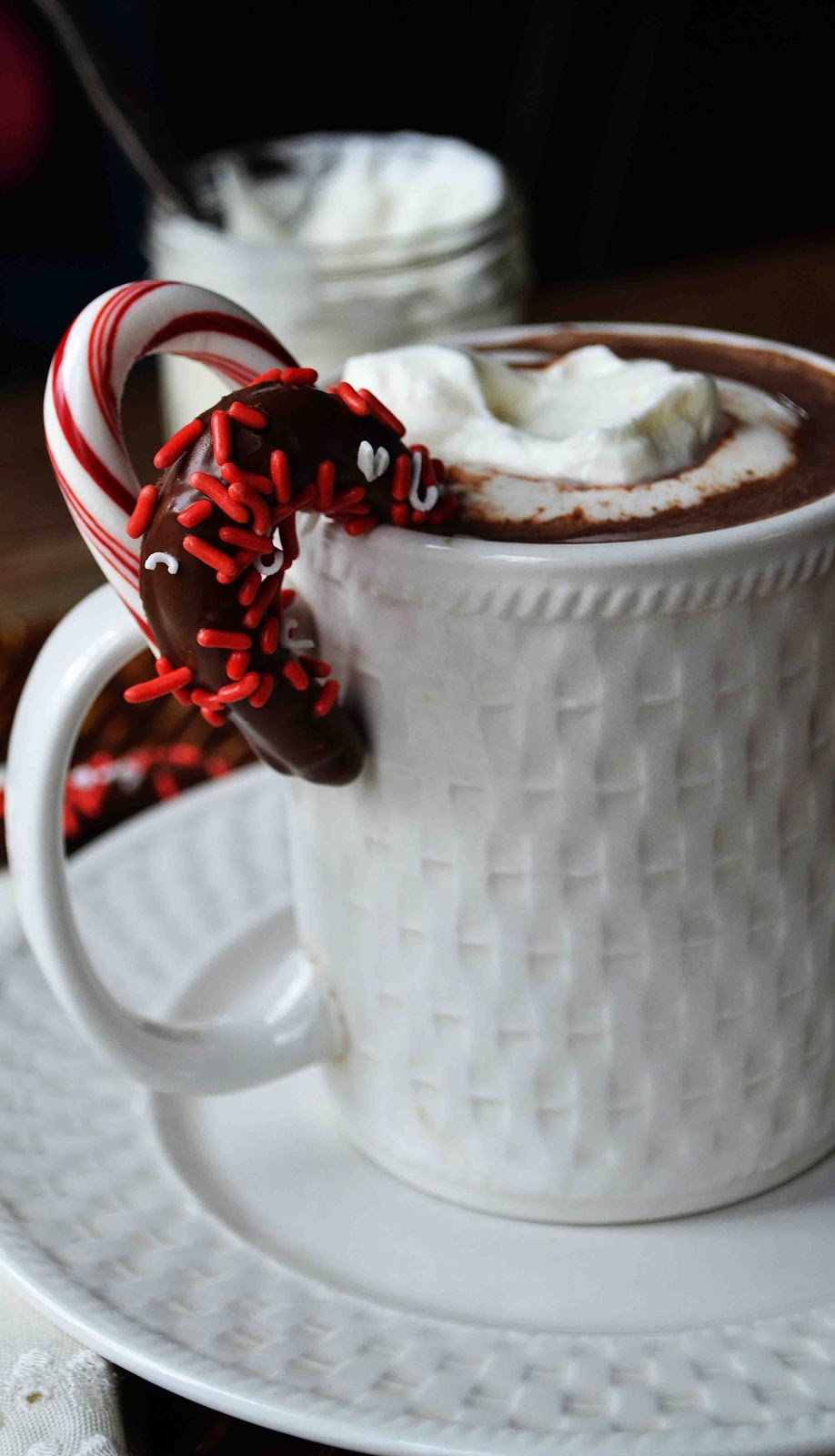 The Perfect Hot Chocolate with Candy Cane Stirrers - Baked ...