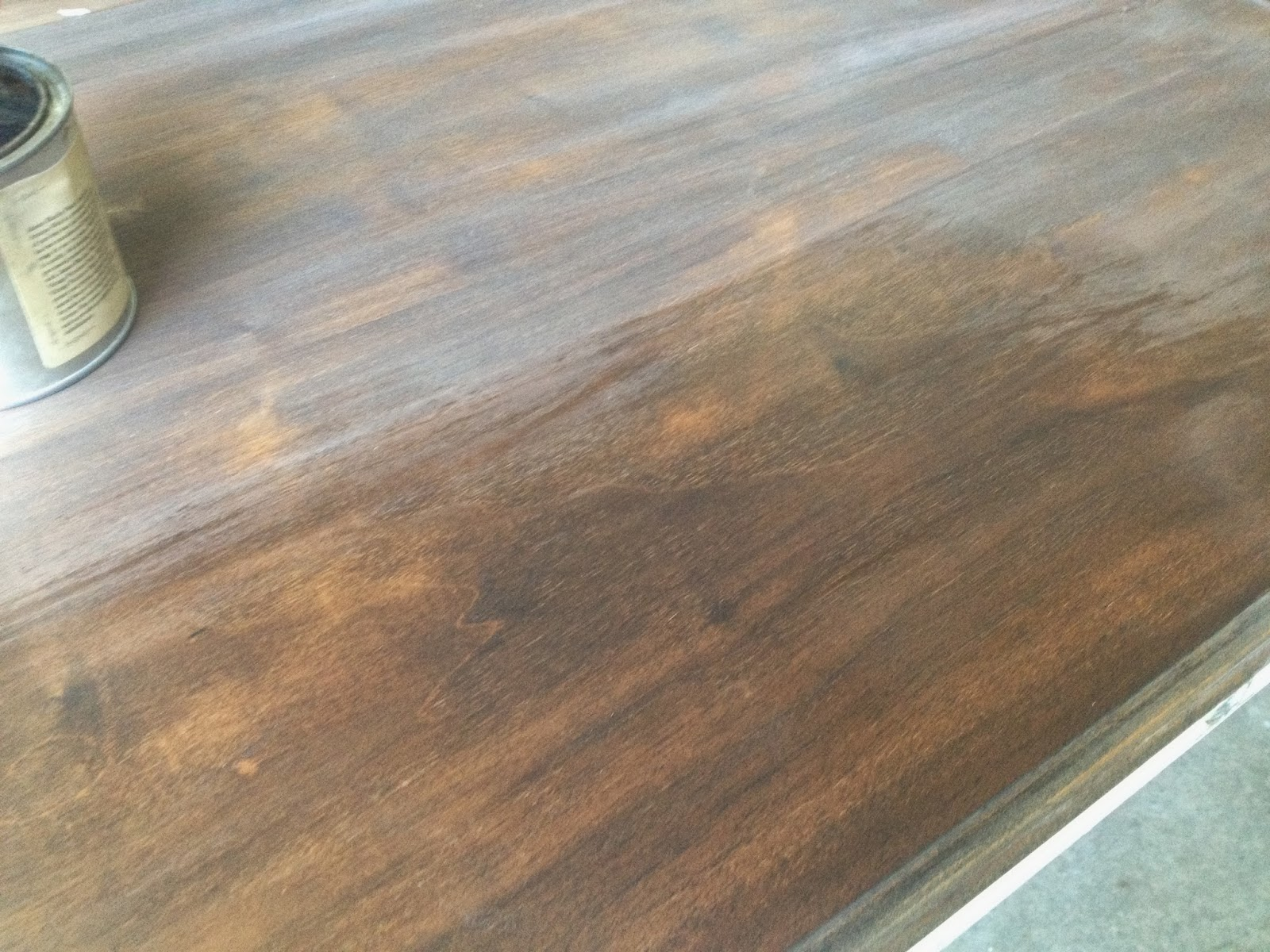 Antique Wax Directly On A Stained Table Top.