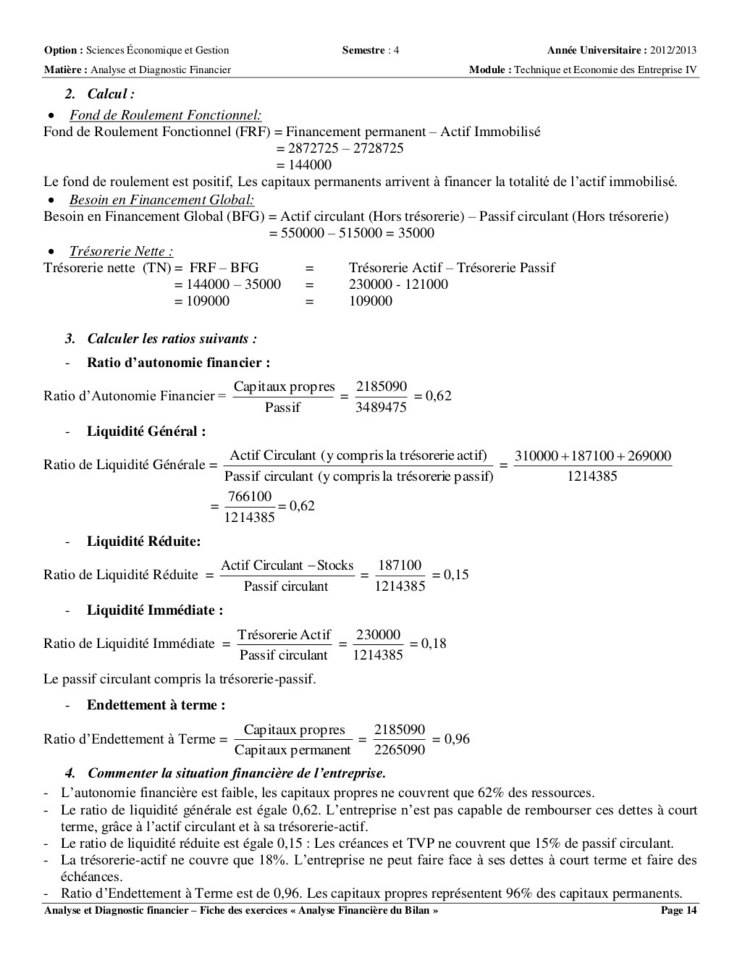 Analyse et diagnostic financier