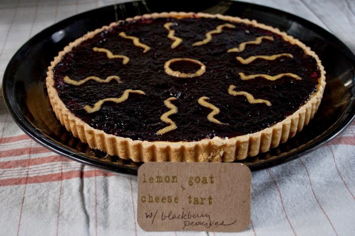 Lemon Goat Cheese Tart with Blackberry Preserves