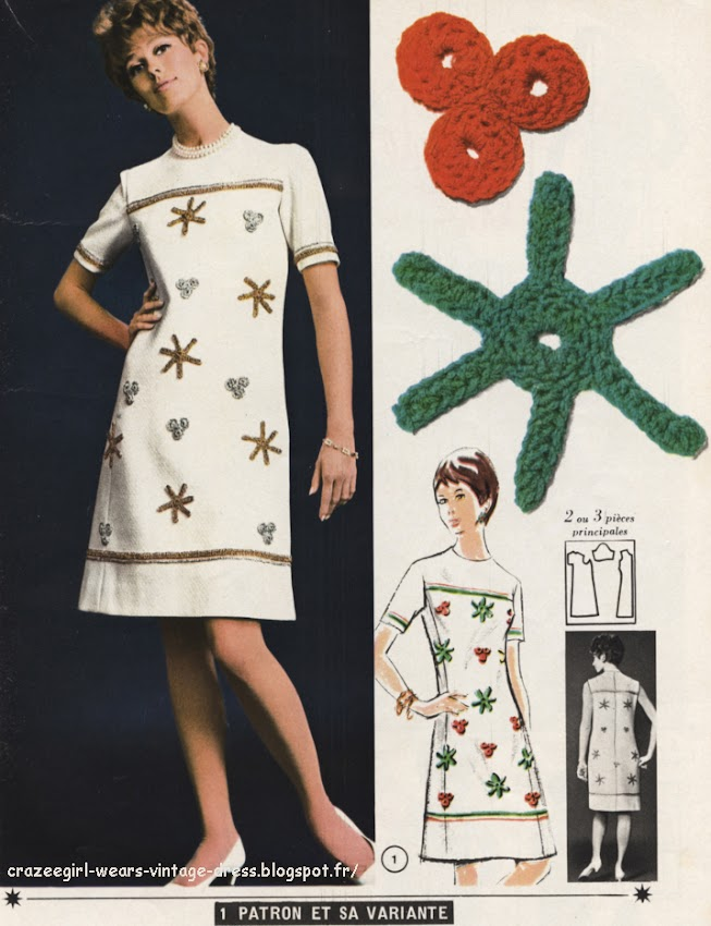 La robe aux étoiles - Crochet star dress - 1967 1960 60s fashion mode couture