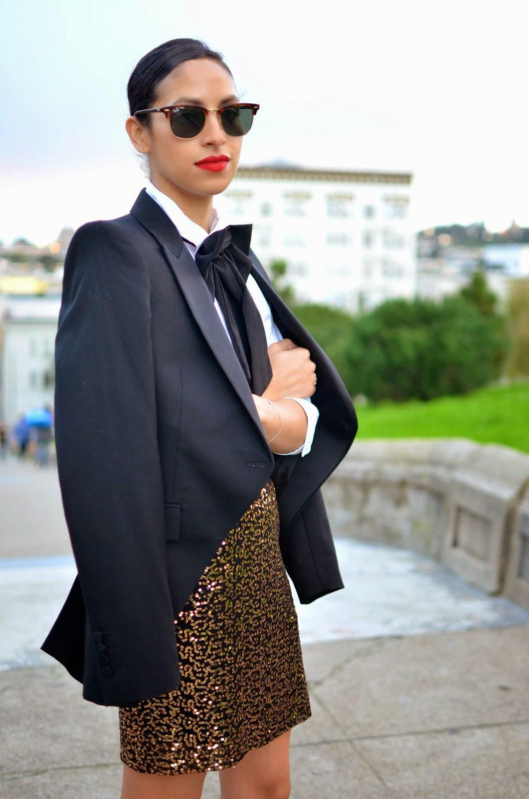 NYE look, NYE style, tux blazer, lady bowtie, style in the city