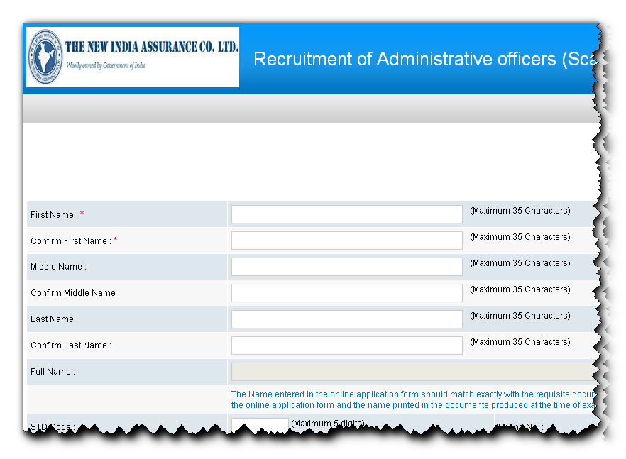 Online Form for New India Assurance Admin Officer Recruitment 2014