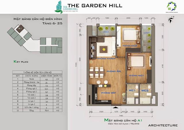 Căn A1 tầng 6 đến 25 Garden Hill - 99 Trần Bình