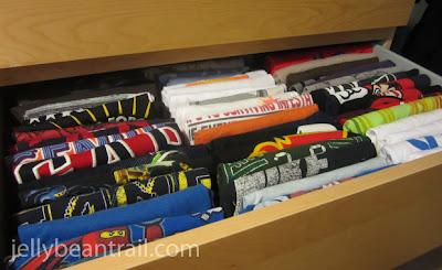 Back to School Organization. T-shirt drawer.