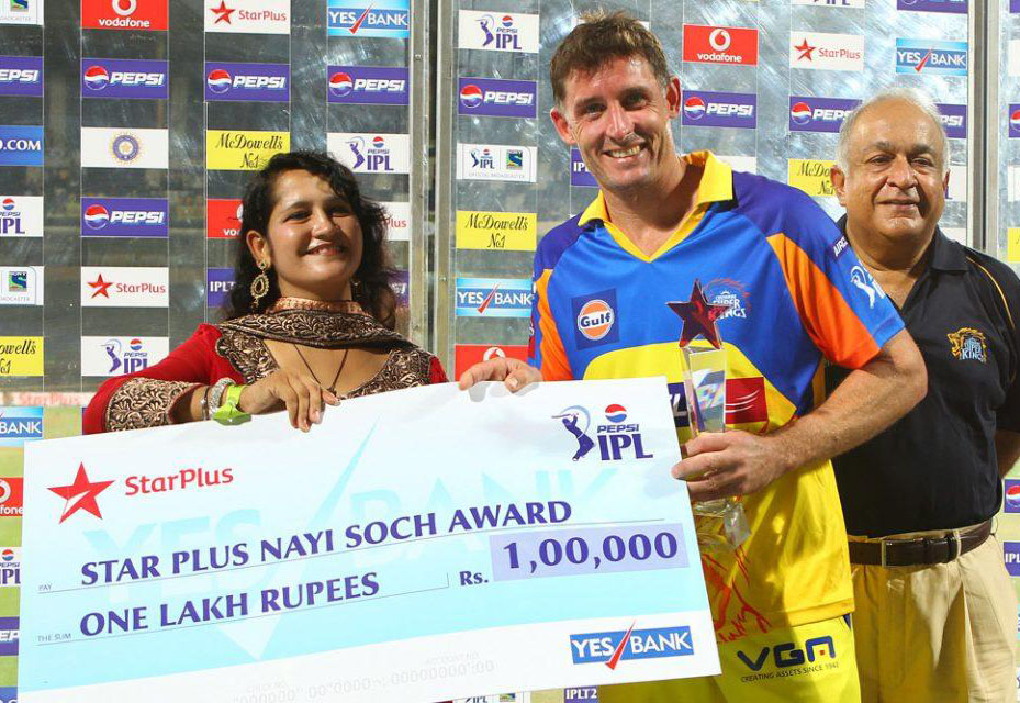 Michael-Hussey-Star-Plus-Award-CSK-vs-RR-IPL-2013