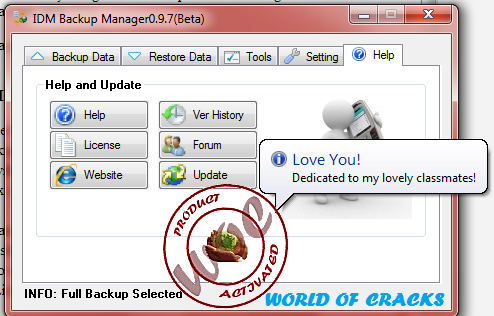Internet Download Manager IDM Backup Manager 0.9.7 Beta1
