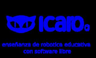 Logotipo de Ícaro con frase: enseñanza de robótica educativa con software lbre