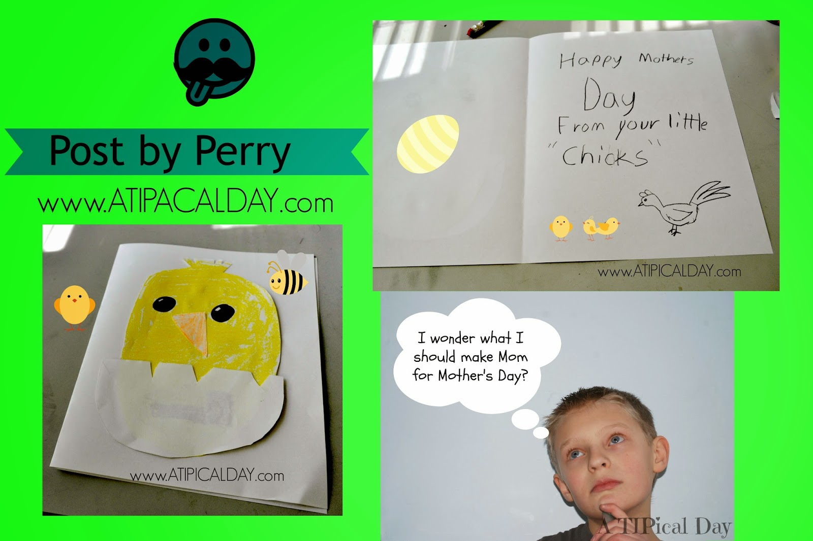 Collage picture of a boy thinking and a baby chick card