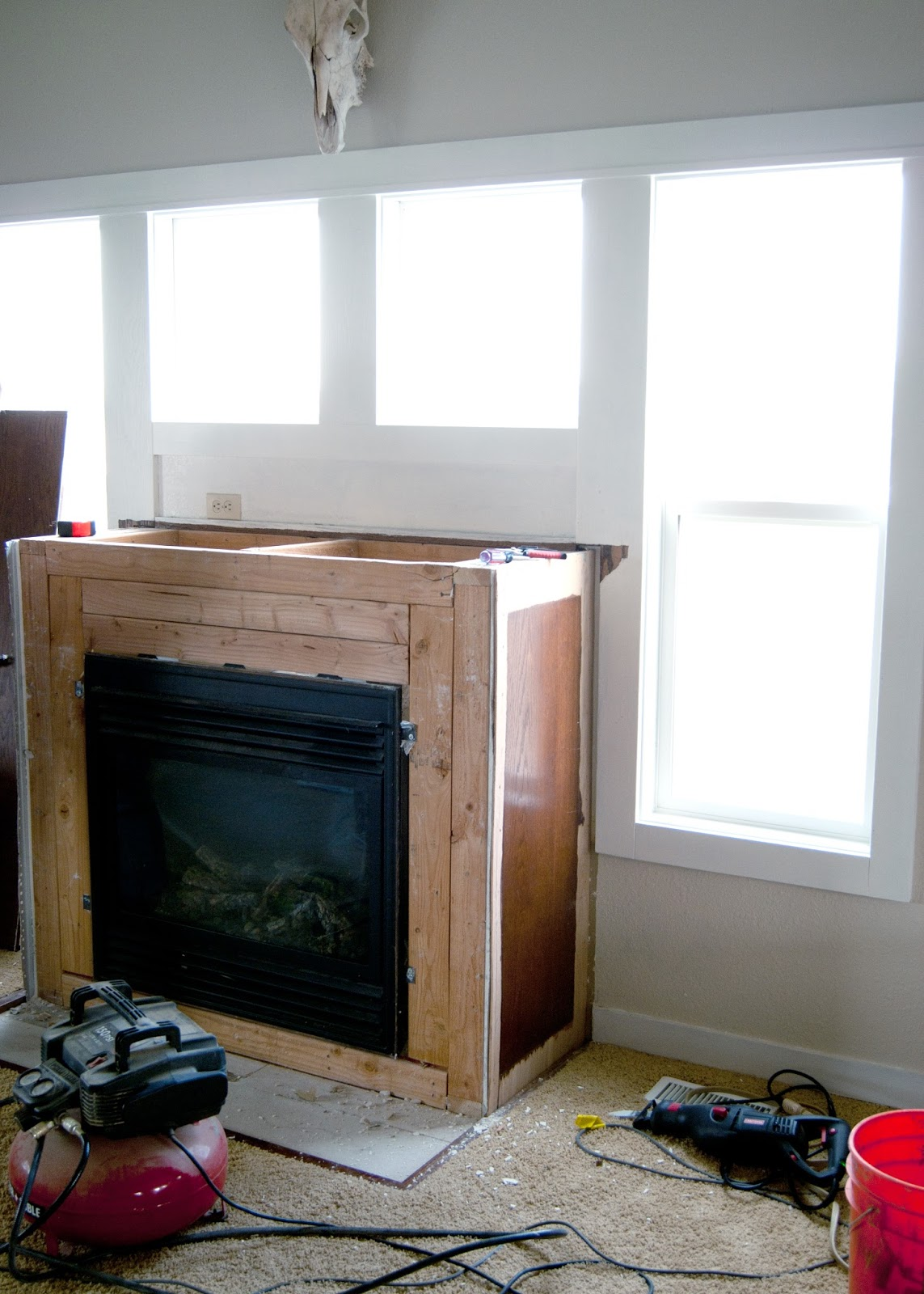 Fireplace Makeover - Reclaimed Wood Mantel - after demo