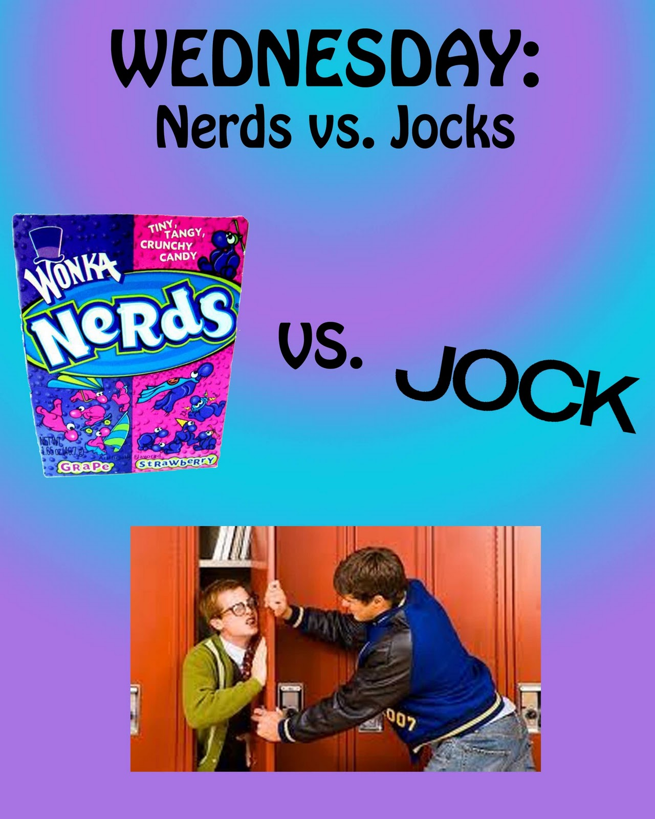 nerds vs jocks The jocks and the nerds battle for supremicy contains furry options.