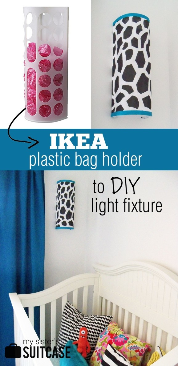 Grand Island Enterprise Ikea ~ IKEA bag holder to DIY light fixture!  My Sister's Suitcase  Packed