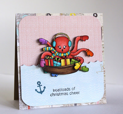 Octopus Christmas Card by Alice Wertz for Newton's Nook Designs
