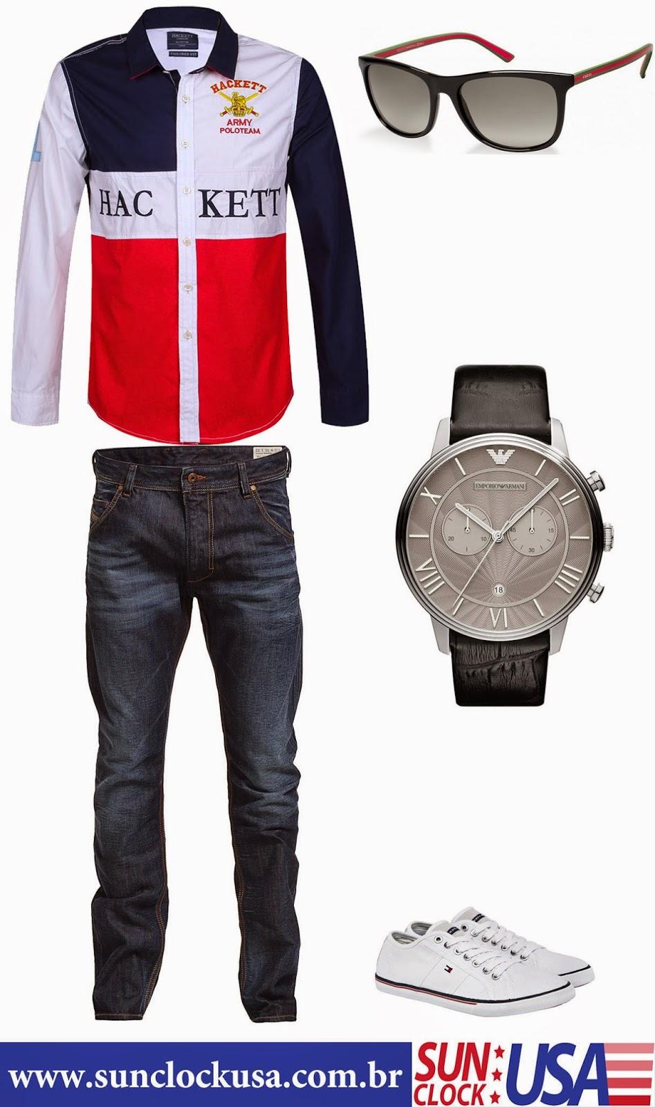 Relógio Emporio Armani AR1615 e Óculos Gucci GC1055/S