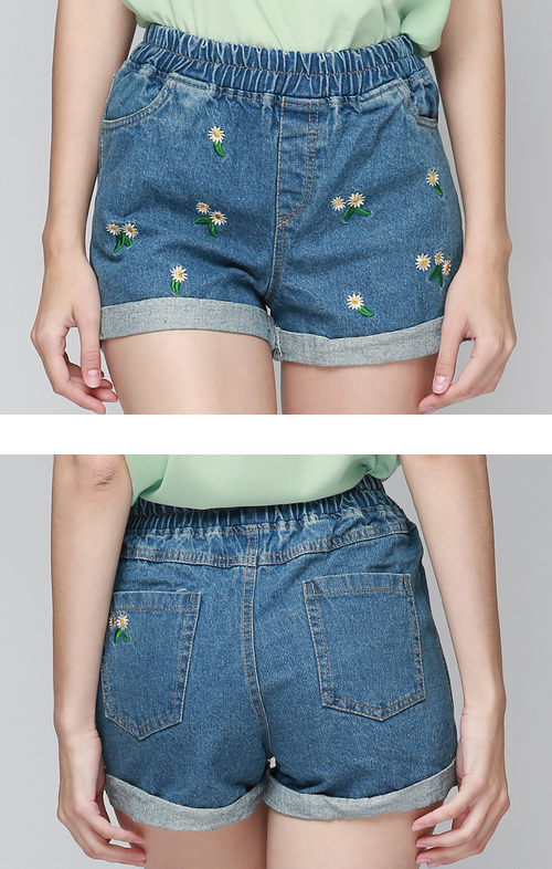 Daisy Embroidered Denim Shorts